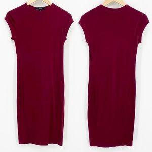 Vibe Sportswear Maroon Tee Shirt Midi Dress M